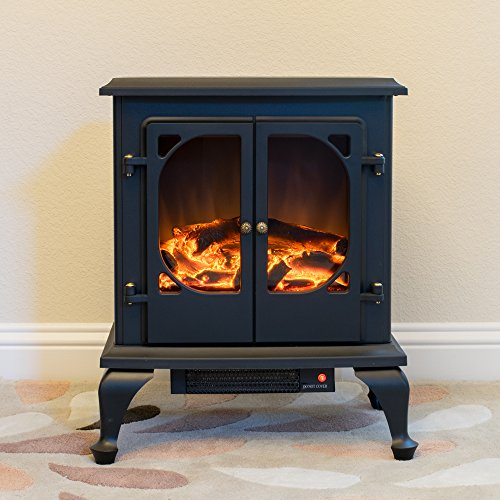 Townsend Free Standing Electric Fireplace Stove 24 Inch Black Portable Electric Vintage