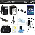 32GB Accessory Kit For Sony HDR-PJ260V, HDR-PJ200 HD Handycam Camcorder with Projector Includes 32GB High Speed SD Memory Card + Replacement (2300Mah) NP-FV70 Battery + Ac / DC Charger + Deluxe Case + Tripod + Mini HDMI Cable + Much More