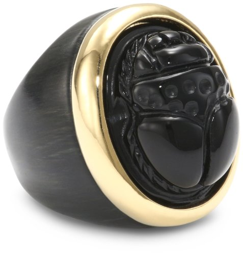 KARA by Kara Ross Ebony Resin and Gold with Onyx Small Resin Scarab Ring, Size 7