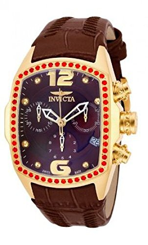 Invicta Women's Lupah Revolution Swiss Chrono Fire Opal Bezel Brown Leather Strap Watch 14827