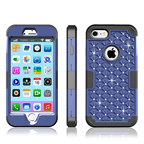 iPhone 7 Case, Speedup Diamond Studded Crystal Rhinestone 3 in 1 Hybrid Shockproof Cover Silicone and Hard PC Case for Apple iPhone 7 (2016 Released) (Navy Blue + Black) (Crystal Tough Luck compare prices)