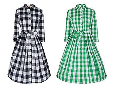Lindy Bop 'Charlotte' Smart Chic 50's Gingham Shirt Style Day Dress