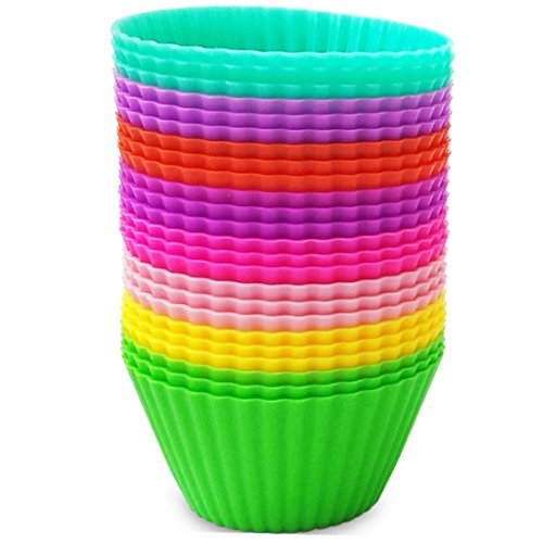 Premium Silicone Baking Cups by VMV Products - 24 Non-Stick Reusable Cupcake Liners/Muffin cups with Recipe eBook