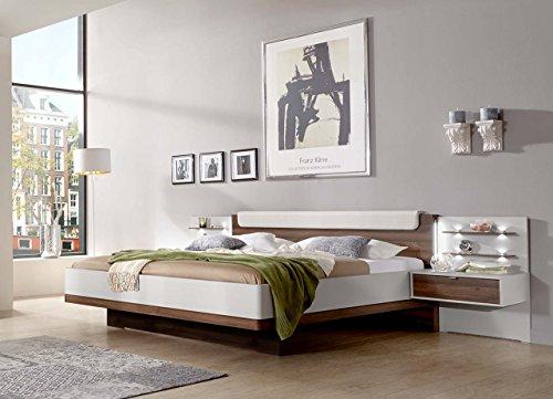 Bett-Futonbett-Bettanlage-Schlafbett-Doppelbett-180x200-cm-Bettgestell-Nachtschrank-Nachttisch-Nocce-Nussbaum-Champagner-creme-wei