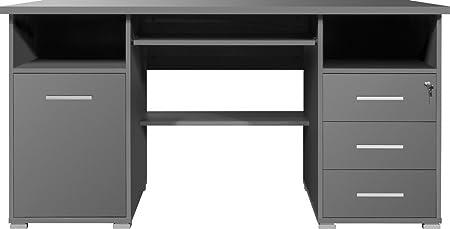 Dreams4Home Schreibtisch 'Göteborg' - Burotisch, Tisch, Computertisch, Arbeitstisch,Buro, B/H/T: 145 x 75 x 70, Anthrazit, made in Germany, große Arbeitsfläche, Tastaturauszug, Ablagefächer