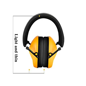 Noise Cancelling Ear Muffs for Shooting Hunting, Adjustable Shooting Ear Muffs,Shooters Ear Protection Safety Ear Muffs, Lightweight Ear Muffs Noise Protection|HUARUI (Yellow) (Color: Yellow)