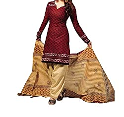 Aika Fashion Women's Crepe Fabric Printed Unstitched Regular Wear Dress Material In Browny Cream Color (Free Size_DR016HA1254-at)