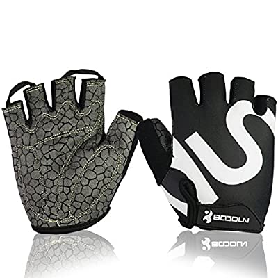 Cycling Gloves, Hicool Abrasion-Proof Crossfit Half Finger Gloves For Weight Lifting, Cross Training, Gym Workout, Exercise Bike And More Outdoor Sports