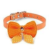 Ukamshop 1 PC einstellbar stricken bowknot PU-Leder Katze Hundewelpen Haustier Halsbänder Halskette orange -