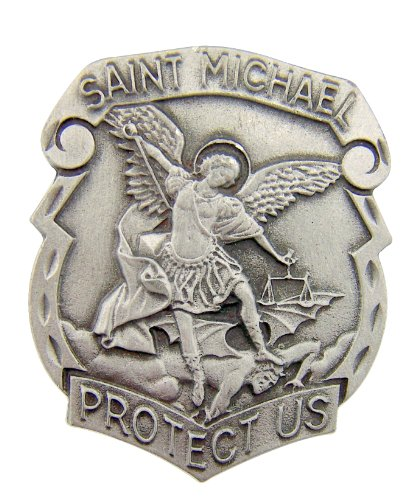 Catholic Gift Archangel Saint St Michael Police Badge Travel Protection Auto Car Visor Clip - 1