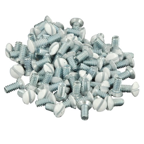Leviton 88400-PRT 5/16-Inch Long 6-32 Thread, Oval Head Milled Slot Replacement Wallplate Screws, 100-Pack, White