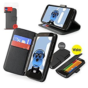 iTALKonline Motorola Moto G 4G (2013) BLACK Executive Wallet Case Cover Skin Cover with HORIZONTAL VIEWING STAND Holder and Sleep Wake Sensor