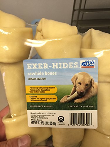 Healthy Beefhide trusted made in the USA Rawhide bone Dog treat pack of 3. Size: 9 inches