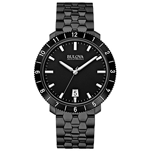 Bulova Accutron II Men's Quartz Watch with Black Dial Analogue Display and Black Stainless Steel Bracelet 98B218