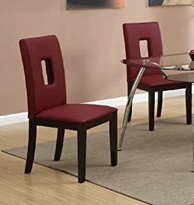 Parson Dining Chairs Set Of 2 Red Leather