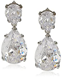 "CZ by Kenneth Jay Lane ""Traditional Collection"" Double Pear Cubic Zirconia Drop Earrings (6 cttw)"