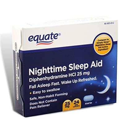 Equate - Nighttime Sleep Aid 25 mg, 24 Mini-Caplets (Compare to SimplySleep)