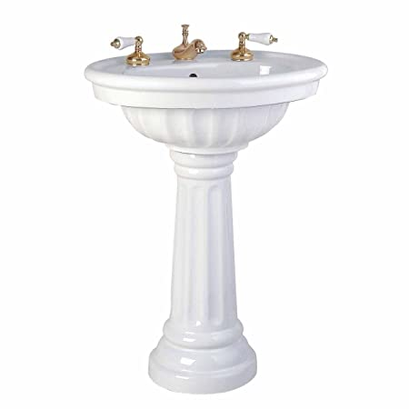 "Pedestal Sink White Vitreous China ""Philadelphia""Large Scratch And Stain Resistant ASME Compliant"