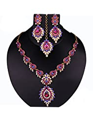 Austrian Stone Blue & Pink Necklace Set With Maang Tikka - 2100210