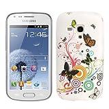 Custodia COVER case gel TPU per Samsung Galaxy Trend s7560 Plus s7580 + 2 pellicole - BIANCO con FARFALLE