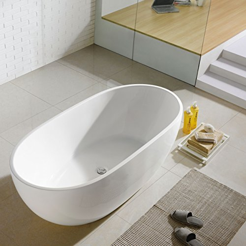 MAYKKE-Barnet-61-Inches-Modern-Oval-Acrylic-Bathtub-Freestanding-White-Tub-in-Bathroom-13-34-Inches-Water-Depth-51-Gallons-Water-Capacity-XDA1407001