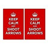 Glossy vinyl sticker pack: KEEP CALM SHOOT ARROWS RED SCARLET RUBY WW2 WWII PARODY SIGN (2 stickers, 15x10cm / 5.9x3.9in)