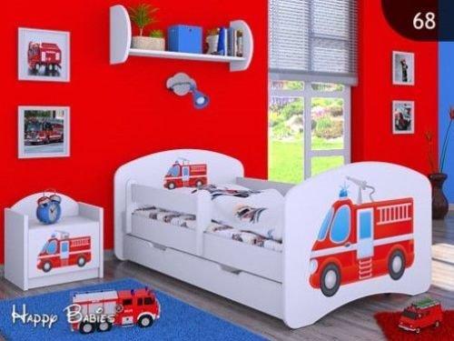 """Kinderbett """"FEUERWEHR"""" mit Matratze und Bettkasten 140/70 cm- NEU"""