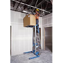 "Genie Lift, GL- 8, Straddle Base with ladder, Heavy-Duty Aluminum Manual Lift, 400 lbs Load Capacity, Lift Height 10' 0.5"" from Ground Level"