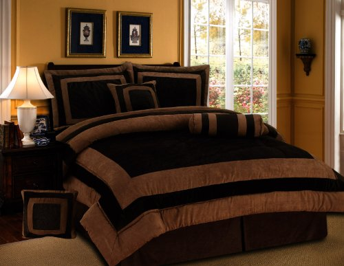 7 Pieces Chocolate Brown Suede Short Fur Comforter Set Queen Bedding Set / Bed-In-A-Bag front-69161