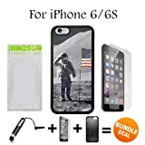 NASA Moon Landing Custom iPhone 6 Cases/6S Cases-Black-Rubber,Bundle 3in1 Comes with HD Tempered Glass/Universal Stylus Pen by innosub by innosub [並行輸入品]