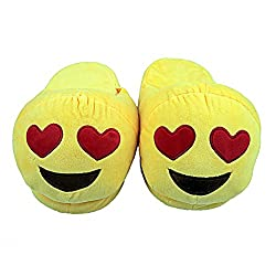 The Crazy Me Emoji Heart Eyes House Indoor Slippers for Women