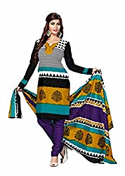 Aarti Apparels Women's Cotton Unstitched Dress Material _MAHARANI-14_Black and Blue
