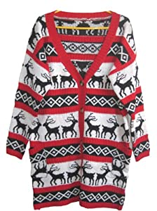 A168® Womens Oversized Christmas Reindeer Cardigan ((Tag M) US size S/M, Red Reindeer Cardigan)