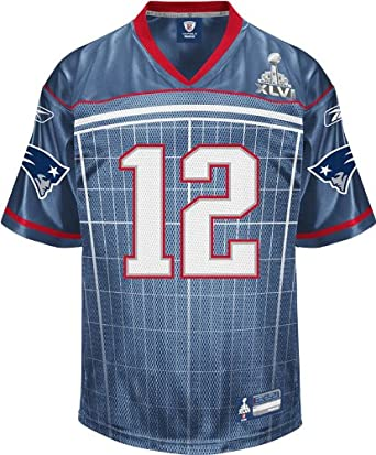 NFL Men's New England Patriots Tom Brady #12 2011 Super Bowl XLVI Participant Jersey (Royal, Small)
