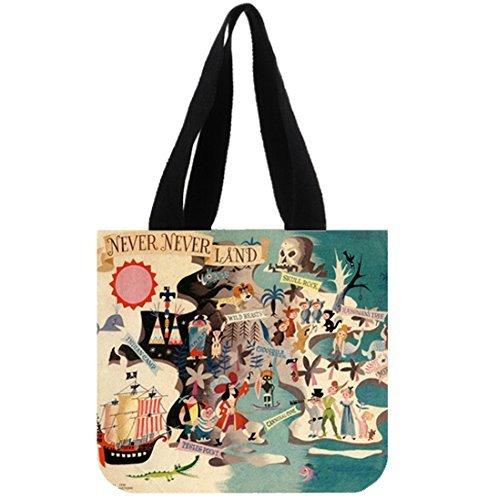 Custom Neverland Peter Pan Folding Reusable Grocery Shopping Travel Handbags Canvas Tote Bag (Peter Pan Bag compare prices)