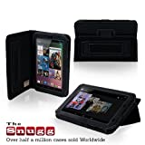 Snugg Nexus 7 Leather Case Cover and Flip Stand with Elastic Hand Strap, Stylus Loop and Premium Nubuck Fibre Interior (Black) - Automatically Wakes and Puts the Google Nexus 7 to Sleep