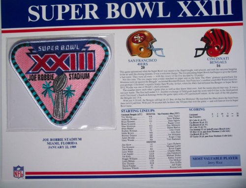 1988 San Francisco 49ers vs Cincinatti Bengals NFL Super Bowl 23 (XXIII) 1989 Jerry Rice MVP Willabee Ward Patch and Stat Panel Card (Super Bowl 23 compare prices)