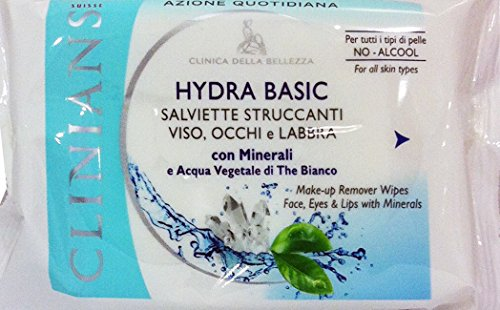 6 x CLINIANS Hydra Basic Salv.Struccanti Viso Occhi Labbra 25 Pz