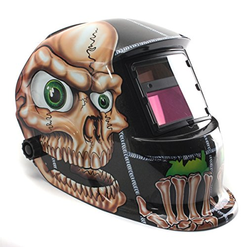 Welding Helmet, Kuaguoyi Solar Auto Darkening Welding Helmet Arc Tig Mig Mask Grinding Welder Mask (Skull)