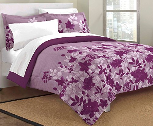 Lowest Prices! Loft Style Botanical Floral Ultra Soft Microfiber Comforter Sham Set, Purple, Queen