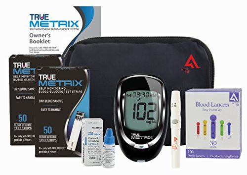 Active1st TrueMetrix Complete Diabetic Blood Glucose Testing Kit, 100 Test Strips, 100 Lancets, Adjustable Lancing Device, Control Solution, Owners Log Book & Manual