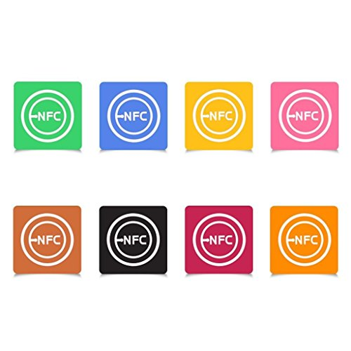 Lenfc NFC Smart Tags Adhesive Sticker Ntag203 (10 Packs + 2 Free Keychains) - Writeable & Programmable for Samsung,LG,HTC,Nexus and NFC Enabled Devices