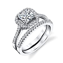 buy Sterling Silver Princess Cut Cz Engagement Wedding Ring Set Cubic Zirconia Fy012
