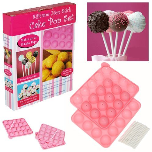 silicone non stick cake pop set baking tray makes up to 20 cakepops mould kids birthday party. Black Bedroom Furniture Sets. Home Design Ideas
