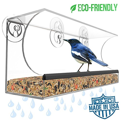 Window Bird Feeder - Made in USA - Best Outside Window Mounted Bird Feeders for Kids & Cats - Clear & See Through, Durable Suction Cup Bird Feeder w/ Drain Holes
