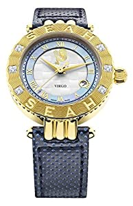 Seah Empyrean 42mm Yellow Gold-Tone Swiss Automatic Luxury Diamond watch. Zodiac sign Virgo. 8/22-9/21 You are the organizer of the zodiac. Analytical, practical, focused & productive. Earth is your element.