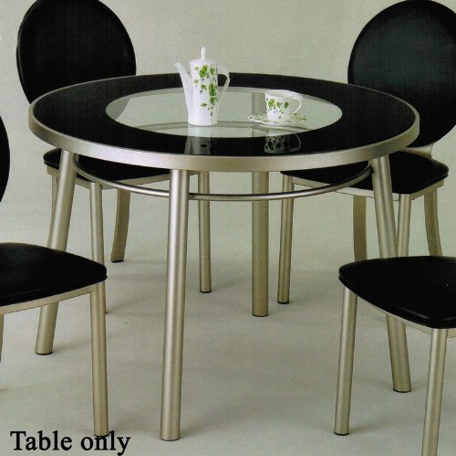 Cheap Round Dining Table with Glass Top in Silver Finish (VF_AM12120)