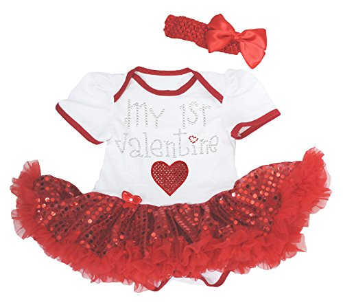 My 1st Valentine Baby Dress White
