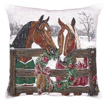 Horse's Holiday Decorative Christmas Throw Pillow 17 x 17