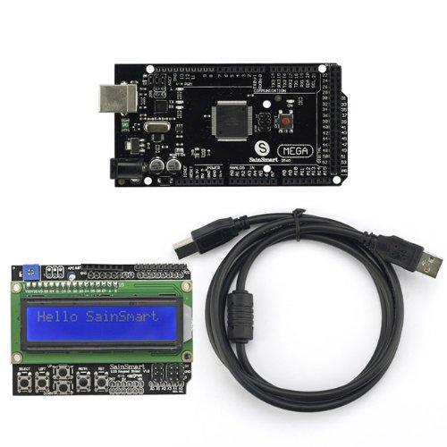 Sainsmart C85 Kit With Mega2560 R3 Black + 1602Lcd Keypad V3 + Usb Cable For Arduino Uno Mega R3 Mega2560 Duemilanove Nano Robot Xbee Zigbee